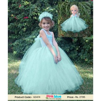Frozen Elsa Birthday Party Princess Tutu Dress 2017 for Toddler Girl in Green Mint Color