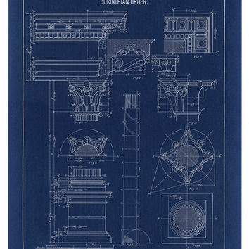 Shop architecture posters on wanelo blueprint print corinthian column drawing blueprint art fine malvernweather Images