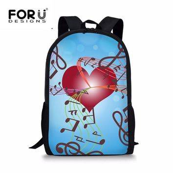School Backpack FORUDESIGNS Newest Red Heart Print School Bags for Students Girls Music Lover Durable Shoulder Backpack Teenagers Daily Use Bag AT_48_3