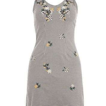 Gingham Embroidered Pinafore Dress - Dresses - Clothing
