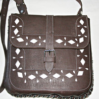 Mexican Vintage Style Purse Brown Hand Engraved Leather Bag Crossbody Bag Rustic Purse Retro Boho Leather Purse Leather Satchel Made to Last