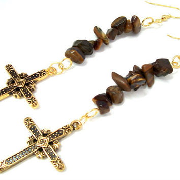 Gold Cross Earrings, Religious Jewelry, Christian Earrings, Gold Cross Pendant