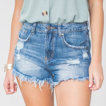Jenna Sass Frayed Denim Shorts
