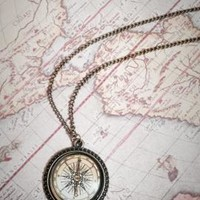 Guiding Hope Glass Dome Compass Pendant Necklace | Sincerely Sweet Boutique