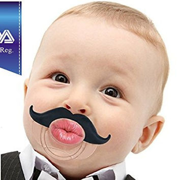 Babystache Kissable Mustache Pacifier for Your Little Cutie Pie - Kissable Barber - Made From Safe BPA Free, Latex Free, high quality Silicone, Babystache Is an FDA Listed Medical Device