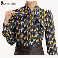 New Work Wear Office 2016 Shirt Women Tops Yellow Floral Bow Tie Pattern Geometric Print Blouse Women Clothing Autumn T65628R