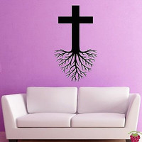 Wall Stickers Vinyl Decal Holy Cross Roots Religion Christianity  (z2007)