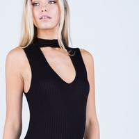 Ribbed Choker Bodysuit
