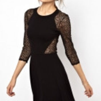 French Connection Vienna Lace Skater Dress with...