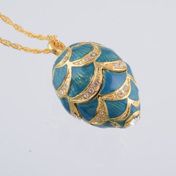 Blue Egg Pendant Necklace Faberge Styled Handmade by Keren Kopal Enamel Painted Decorated with Swarovski Crystals