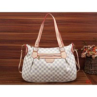 LV Louis Vuitton Popular Women Leisure Shopping Bag Leather Shoulder Bag Satchel Crossbody White Tartan I