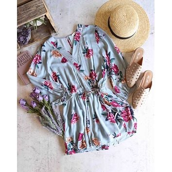 blu pepper - say nothing - floral print romper - sage