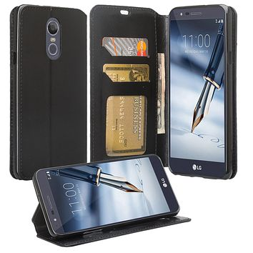 LG Stylo 4 Wallet Case, Pu Leather Wallet Case [Kickstand] with ID & Credit Card Slots - Black