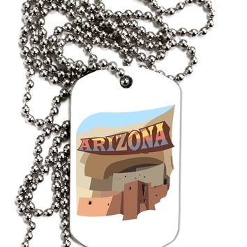 Arizona Montezuma Castle Adult Dog Tag Chain Necklace