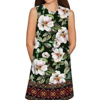 Queen of Flowers Adele Green Printed Shift Dress -