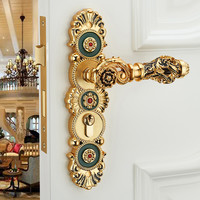 Continental Carved Locks Hollow Wood Door Mute Locks Bedroom Interior Handle Locks Luxury Villa Lock Exquisite Zinc Alloy Handle