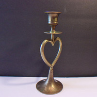 Vintage Heart Brass Candle Stick Valentine's Day Romantic Home Decor