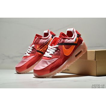 NIKE Air Max 90 Off White Trending Women Men Casual Air Cushion Sport Running Shoes Sneakers Red
