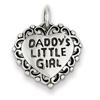 925 Sterling Silver Antiqued Daddy's Little Girl Girls Pendant