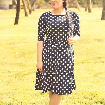 Navy Blue Polka Dot dress – Holiday dress - Modest midi dress for women