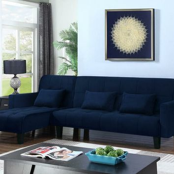 2 pc Evander collection grey blue velvet fabric upholstered futon and chaise
