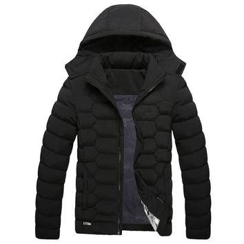 2017 New Arrivals Winter Jacket for Men Thicken Warm Outwear Removable Hooded Thermal Down Cotton Parkas Stand Collar Warm Parka