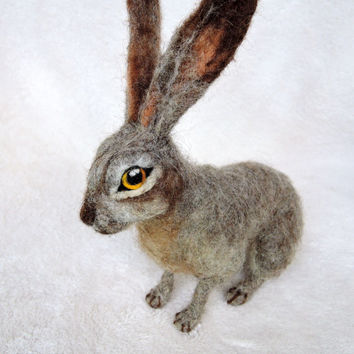 Custom needle felted hare - rabbit - bunny - made to order - custom pet portrait - memorial sculpture