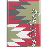 Alpha Chi Omega - Aztec pattern in scarlet and olive - A-Chi-O sorority Iphone case