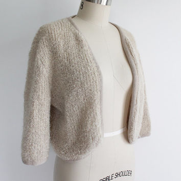 Vintage 60s Tan Fuzzy Mohair Cropped Sweater | small medium