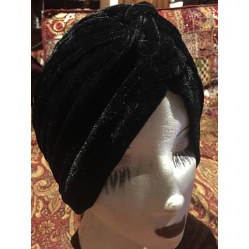 Vintage Black stretch velvet Deco Turban Hat