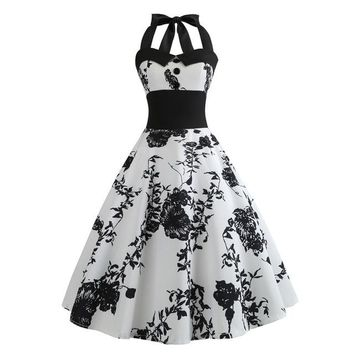 Rose Print Dress Women Punk Strapless Back Party Dress Bow Self Gothic Dress Swing Dropshipping Wholesaling retailing P2