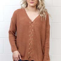 Laced Down the Front Knit Sweater {Desert Sand}