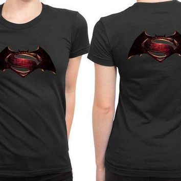 Batman Vs Superman Logo 2 Sided Womens T Shirt