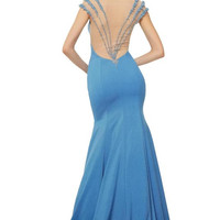 PRIMA 17-8106 Cap Sleeve Sheer Back Mermaid Prom Dress Evening Gown