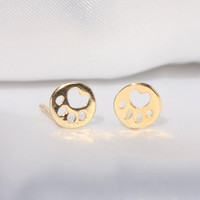 Cute Tiny Bear Paw Earring Jewelry Gold/Silver Plated Round Dog Paw Mark Print Earrings Stud Unique Earrings Jewelry for Women