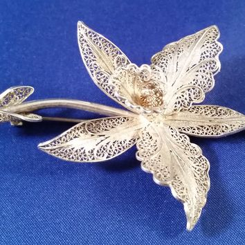 GV sterling silver filigree Portuguese flower brooch lily orchid Portugal vintage