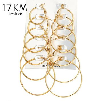 17KM 6 Pair/set Vintage Gold Color Big Circle Hoop Earrings for Women Steampunk Ear Clip Party Jewelry Accessories Gift