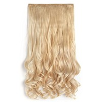 """OneDor® 20"""" Curly 3/4 Full Head Synthetic Hair Extensions Clip On/in Hairpieces 5 Clips 140g(613#-pre Bleach Blonde)"""
