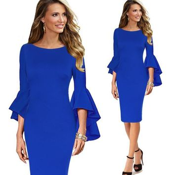 Elegant Long Flare Bell Sleeve Fashion Vintage Pinup Formal Party Cocktail Bodycon Sheath Dress