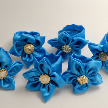 6 Silky Royal Blue Napkin Rings with Gold & Pearl Vintage Style Buttons