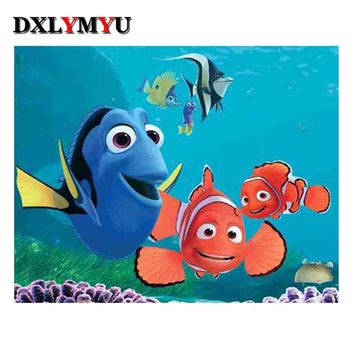 5D Diamond Painting Finding Nemo with Dory, Marlin and Nemo Kit