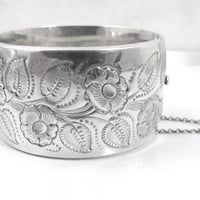 Antique Liberty & Co. Sterling Bangle Bracelet, Art Nouveau Repousee Forget Me Not Flowers, Wide Hinged Cuff Birmingham Hallmarks
