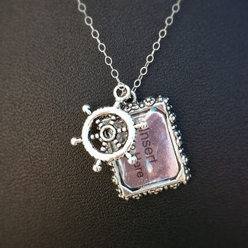 Helm Necklace - Picture Frame Necklace - Dainty Sterling Silver Necklace - Sailing Charm- Boating Charm