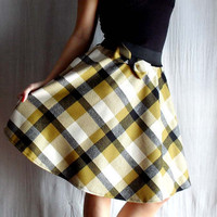 Plaid circle skirt in mustard and black Sizes from by AliceCloset
