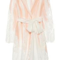 Rosamosario | L'Avvocato striped silk and Chantilly lace robe | NET-A-PORTER.COM