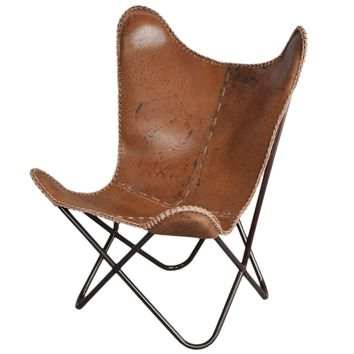 Horizon Brown Leather Butterfly Chair | Overstock.com Shopping - The Best Deals on Living Room Chairs