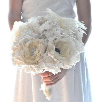 Shabby and chic paper flower wedding bouquet,  paper flowers bouquet, romantic handmade paper bouquet