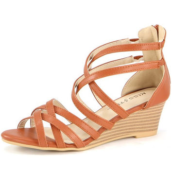 """Jamea"" Strappy Low Wedge Sandals - Camel"