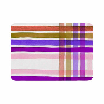 "Ebi Emporium ""Plaid Stripes In Color 6 "" Pink Purple Memory Foam Bath Mat"
