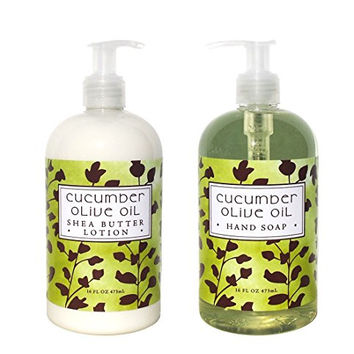 Greenwich Bay Cucumber and Olive Oil Hand & Body Lotion and Cucumber and Olive Oil Hand Soap Duo Set Enriched with Shea Butter 16 oz each